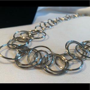 Lia Sophia Silver Hoops Necklace